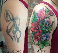 Calla Lilies cover up tattooed by Shiloah at Damask Tattoo in Seattle, WA calla lilies tattoo, calla lilies, watercolor tattoo, coverup tattoo, cover up tattoo, flower cover up, tribal cover up tattoo, tribal cover up