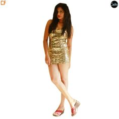 Golden sequins party dress in lycra which is a stretchable material with a sweet heart neckline. The dress has golden glitter sequins all over the dress with spaghetti straps and the low back.  http://www.droomfashion.com/shop/gowns-dresses/golden-sequins-party-dress/