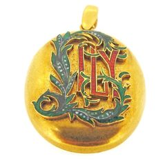 18ct gold & enamel 'Lily' picture locket | A.R. Ullmann
