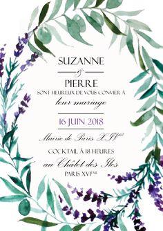 Faire-part Mariage -aquarelle - fleurs botanique - lavande - olivier - Provence - Atelier Eksento
