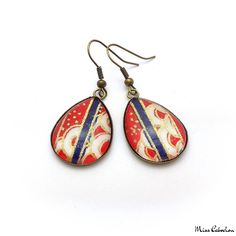 Japanese inspired cabochon earrings made in only one copy! Jewelry n°90