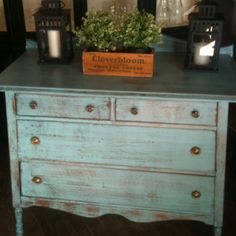I love the shabby blue look of this stand alone piece.