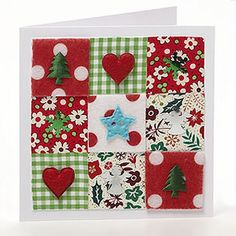 Simple Patchwork Cards -love this! Christmas Card Crafts, Homemade Christmas Cards, Christmas Cards To Make, Christmas Tag, Xmas Cards, Christmas Projects, Christmas Themes, Homemade Cards, Handmade Christmas