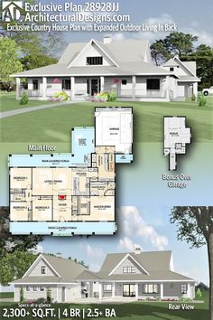 Building A House Discover Introducing Architectural Designs Craftsman Home Plan with 4 Bedrooms The Plan, How To Plan, Dream House Plans, My Dream Home, Dream Houses, Barn Style House Plans, Country House Plans, Casas Country, House Ideas
