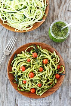 Zucchini, Basil, Pesto with Fresh Cherry Tomatoes (Looks like pasta, fool your family) I love it served warm!