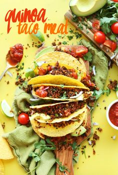Corn tortillas stuffed with homemade vegan Quinoa Taco Meat for a gluten-free plant-based meal