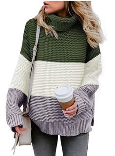 Sweaters for Women Plus Size,Womens Casual Color Block Long Sleeve Turtleneck Chunky Knit Pullover Sweater Jumper Tops Petite Sweaters, Thick Sweaters, Plus Size Sweaters, Casual Sweaters, Winter Sweaters, Pullover Sweaters, Sweaters For Women, Cotton Sweater, Sweater Weather