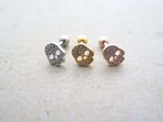 CZ Stud Piercing/Tragus Earring/Cartilage earring/Skull ear piercing/Tragus Piercing/CZ piercing/Labret bar optional/Helix Earring/ conch by MinimalBijoux on Etsy