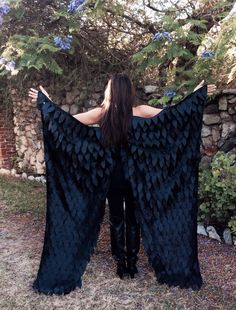 Maleficent Costume Wings Floor Length, Adult Costume Wings, Crow, Raven Wings, Black Bird Feather Wings, Halloween Costume Wings, Dark Fairy
