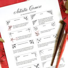 Artistic corner designs can elevate a paper project from ordinary to eye-catching! This post provides you with a printable showcasing 10 corner designs. Brush Pen Calligraphy, Learn Calligraphy, Printable Labels, Free Printables, Party Printables, Cool Lettering, Creative Lettering, Brush Lettering, Postman's Knock