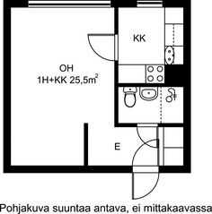 Porttikuja, Kontula, Helsinki, 1h+kk 25,5 m², SATO vuokra-asunto Helsinki, Floor Plans, Floor Plan Drawing