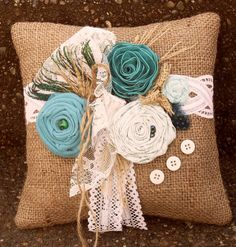 Shabby Chic Turquoise/Teal Peacock Burlap by lifesjoyousmoments, $25.00