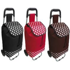 Shopping Trolley Luggage Bag Brown Red Or Black Polka Dot New By Beam Feature in Home, Furniture & DIY | eBay