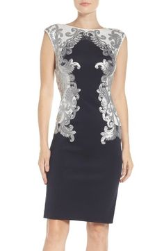 Free shipping and returns on Tadashi Shoji Sequin Neoprene Dress (Regular & Petite) at Nordstrom.com. Brocade-inspired patterns of shimmering sequins along a cap-sleeve bodice help this shape-retaining sheath take cocktail hour's sparkle in a sophisticated direction.
