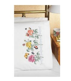 Janlynn Rose Garden Pillowcase Pair Stamped Embroidery-20''X30''