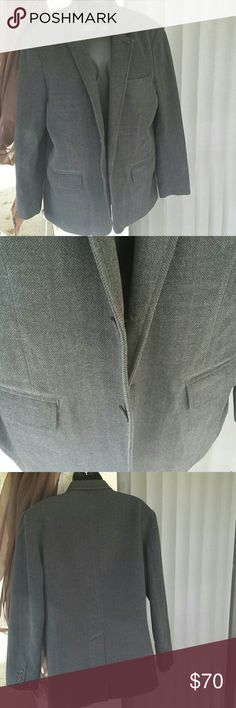 GAP Blazer Men's Gray Herringbone Coat Jacket Dark grey herringbone 2 button blazer for anytime wear. It is a cotton polyester blend and soft to touch. It is classic and any man would want to pair this up with some nice loafers.  It is in new like condition worn a few times. GAP Suits & Blazers Sport Coats & Blazers