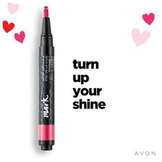 Turn Up Your Shine Mark. By Avon Gloss Gorgeous Stay On Lip Stain Goes on as a Gloss wears to a Stain. Gives lips rich color and an intense high shine with a click of the pen. Lasts for hours. Avon Lipstick, Lipstick Swatches, Winged Eyeliner Tutorial, Avon Mark, Eye Liner Tricks, Lip Shine, Lip Fillers, Lip Moisturizer, Lip Colors