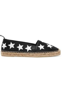 Saint Laurent Star-appliquéd leather espadrilles $495 Sole measures approximately 15mm/ 0.5 inches Black and white leather  Slip on  Made in Spain