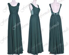 Straps V neck Floor Length Chiffon Dark Green Formal Gown, Prom Dresses, Evening Gown, Wedding Party Dresses