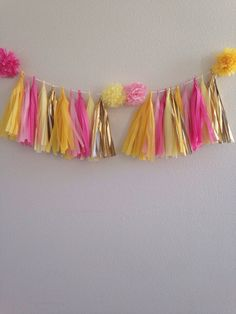 Tissue paper tassel garland yellow  pink by IrisBlingtique on Etsy
