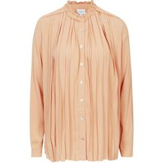 Taylor Pleated Shirt by Jovonna ($68) ❤ liked on Polyvore featuring tops, peach, pastel shirts, vintage red shirts, peach shirt, red ruffle shirt and peach top