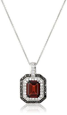 #blackdiamondgem Sterling Silver Garnet with Created White Sapphire and Black Diamond Pendant Necklace, 18″by Amazon Collection - See more at: http://blackdiamondgemstone.com/jewelry/necklaces/pendants/sterling-silver-garnet-with-created-white-sapphire-and-black-diamond-pendant-necklace-18-com/#sthash.VPpoqgUE.dpuf