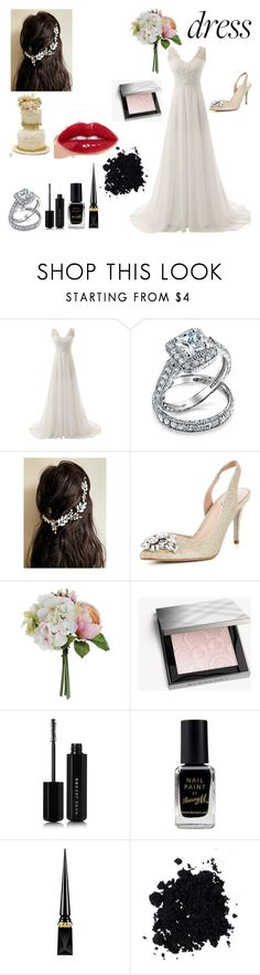 """""""Wedding Dress"""" by giulia-ostara-re ❤ liked on Polyvore featuring Bling Jewelry, Carvela, Burberry, Marc Jacobs, Barry M and Christian Louboutin"""