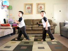 "stinking cute!!!  made me laugh.. Twins Justin  Jeremy dancing to ""Hey Ya"""