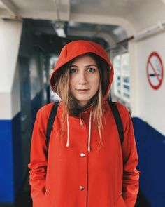in Stutterheim Mosebacke Raincoat Red Amsterdam, Red Raincoat, Rain Cape, Rainy Day Fashion, Bronze, Rain Wear, Girls In Love, Girls Wear, Feminine Style