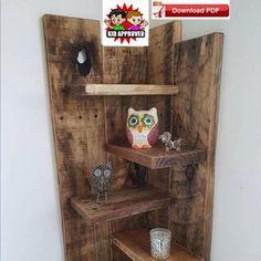 Display stand plan/corner shelf plan/wood shelf plan/corner   Etsy Wooden Pallet Projects, Pallet Crafts, Wooden Pallets, Pallet Wood, 1001 Pallets, Diy Projects, Bar Outdoor, Small Pallet, Pallet Ideas Easy