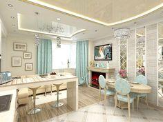 Дизайн совмещенной кухни-гостиной с барной стойкой: 75 мультифункциональных и современных интерьеров http://happymodern.ru/dizajn-kuxni-sovmeshhennoj-s-gostinoj-foto-s-barnoi-stoikoj/ Кухня-гостинная в светлых тонах с камином, телевизором, барной стойкой и обеденной группой