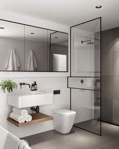 48 Easy Shower Design Ideas For Small Bathroom - Design Bathroom Furniture Design, Bathroom Design Small, Bathroom Interior Design, Bath Design, Minimalist Bathroom Design, Interior Walls, Bathroom Designs, Scandinavian Bathroom Design Ideas, Scandinavian Modern