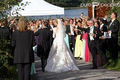 Tord Magnuson, le roi Carl XVI Gustaf de Suède, la princesse Christina de Suède, la reine Sonja de Norvège, la reine Silvia de Suède - Mariage de Gustaf Magnuson (fils de la soeur du roi Carl XVI Gustaf de Suède) et Vicky Andren au château d'Ulriksdals à Stockholm, le 31 août 2013.
