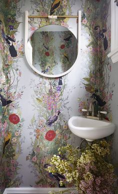 Big thumbs up to this washroom from featuring TB Fruit Looters Wallpaper 👍 . Laundry Room Bathroom, Washroom, Small Bathroom, Attic Bathroom, Timorous Beasties, Downstairs Toilet, Bathroom Wallpaper, Hall Wallpaper, Bathroom Interior Design