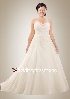 Stunning Beading Sweetheart A-line Sweep Train Wedding Dress