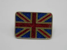 British Flag Belt Buckle Inlaid Sparkle Enamel Red  Blue Gold Silver Union Jack…