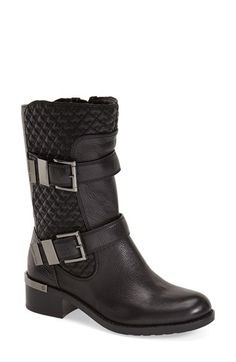 Free shipping and returns on Vince Camuto 'Welton' Moto Boot (Women) at Nordstrom.com. Overlapping diamond quilting at the shaft lends modern sophistication to a textured leather moto boot finished with a flash of gilt hardware at the stacked heel.