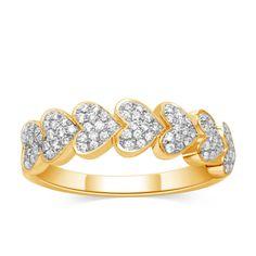 10k Yellow Gold 0.25 Ct Round Diamond Love Heart Wedding Band Ring NEW Valentine #CaratsForYou #HeartBand #ValentinesDay