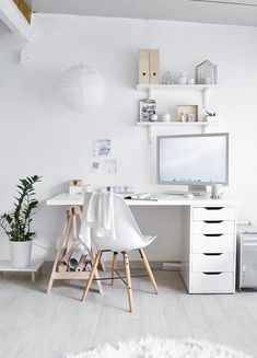 53 New Ideas For Design Studio Interior Workspaces Eames Chairs Study Room Decor, Teen Room Decor, Bedroom Decor, Home Office Design, Home Office Decor, Home Decor, Office Ideas, Office Themes, Cool Office Space