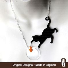 Perspex Cat Necklace - Cat & fish  - Catchin'  Fish by Sugar Jones - Meow