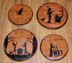 Primitive Witches Stovetop Burner Covers Halloween Decorations Witchcraft Tea Cats Kitchen Sit a Spell magic Wicca Witch Handpainted