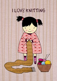 I love knitting! ~ I'm really good at simple scarves! Knitting Quotes, Knitting Humor, Knitting Projects, Knitting Patterns, Crochet Patterns, Free Knitting, Knit Art, Illustration, How To Purl Knit