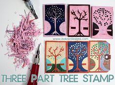 Three Part Layered Tree Stamp