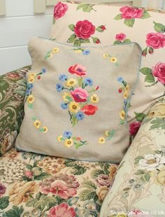 Vintage Home - Wild Flowers and Poppies Embroidered Cushion in the Patchwork Armchair: www.vintage-home.co.uk