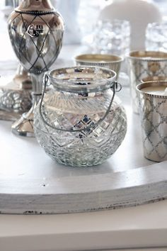 crystal & silver candle grouping