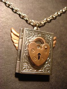 Steampunk  Book Locket with Wings and Heart Lock by ClockworkAlley, $25.00