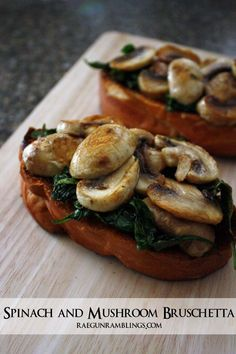 Quick and easy Spinach Mushroom Toast recipe. Great healthy lunch dinner or bruschetta appetizer idea