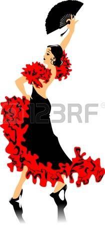 bailando flamenco: bailarina en el vestido negro de baile flamenco (ilustración);