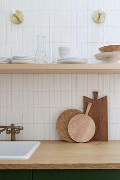 Kitchen Tile Backsplash Makeover Toronto: No Retiling; Subway Tile Kitchen, Farmhouse Kitchen Cabinets, Subway Tiles, Kitchen Shelves, New Kitchen, Kitchen Dining, Kitchen Decor, Kitchen Wood, Scandinavian Kitchen Backsplash