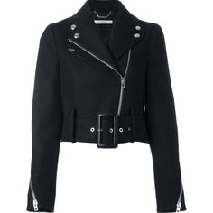 Givenchy Cropped Biker Jacket (10 030 PLN) ❤ liked on Polyvore featuring outerwear, jackets, black, coats & jackets, leather jacket, moto jacket, leather motorcycle jacket, real leather jackets, leather straight jacket and long sleeve jacket